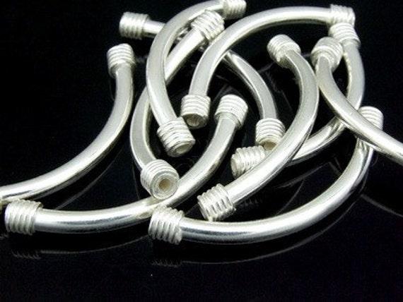 KS-048 thai karen hill tribe silver 3 plain curved tube bead