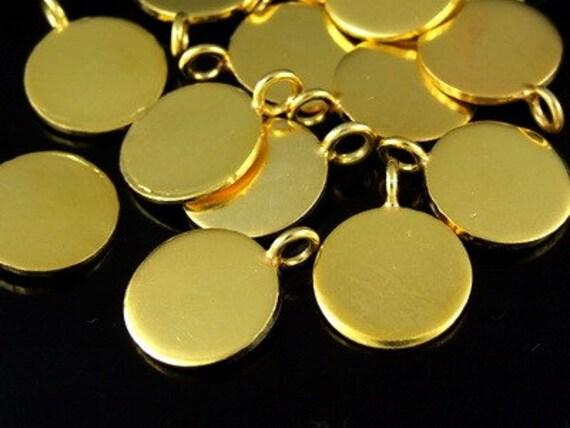 KG-136 thai karen hilltribes handmade silver 3 gold vermeil smooth round disc charm 14 mm.