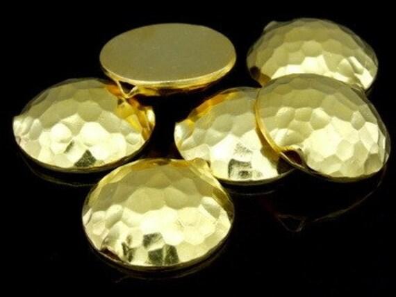 KG-395 thai karen hill tribes silver 2 gold vermeil hammered half round puffed bead