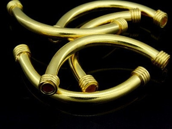 KG-414 thai karen hill tribes silver 2 gold vermeil long plain curve tube bead