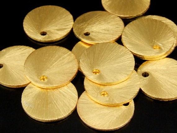 KG-512 thai karen hill tribe handmade silver 6 gold vermeil shiny scratch disc charm w/o jump ring