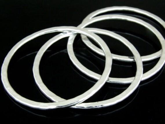 KA-067 thai karen hill tribe handmade silver white 1 huge hammered round hoop