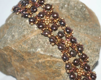 Katya Bead Netted Bracelet Pattern Using Twin Beads