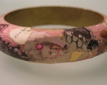 MARIE ANTOINETTE Pink Black and Gold Collage Decoupage Shabby Chic Baroque Fashion Bracelet Bangle w Swarovski Crystals Cabochon & Lace