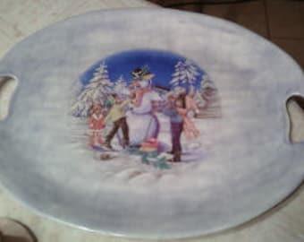 Snowman Scene Platter