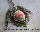 Rose Cameo 4 choices pendant pink on white background with wings Sweet Steampunk