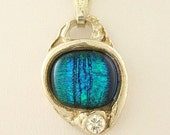 Fused Dichroic Glass Blue Tiger Eye Surrounded by Precious Metal Clay .999 Fine Silver Necklace