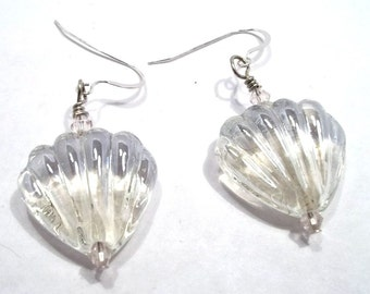 Clear Glass Shell Earrings Lampwork Earrings Lampwork Jewelry Shell Jewelry Clear Earrings BE1715
