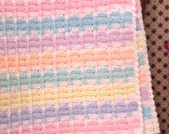 Crocheted Blue Yellow Pink Green Peach Mauve Aqua White Baby Blanket Baby Crochet Afghan Crochet Baby BB02-03A-3 Pastel Stripe