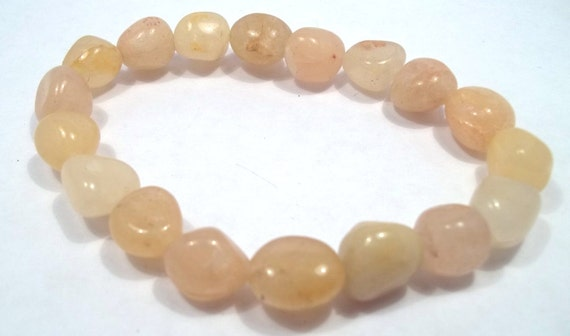 Yellow Agate Nugget Gemstone Bracelet Stretch Bracelet Gemstone Jewelry Agate Bracelet Yellow Bracelet BE1559