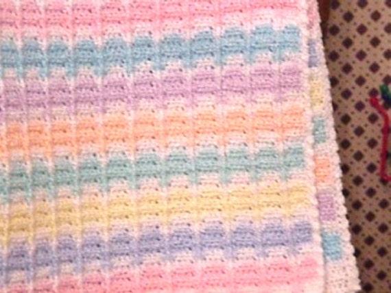 Crocheted Blue Yellow Pink Green Peach Mauve Aqua White Baby Blanket Baby Crochet Afghan Crochet Baby BB02-03A-3 Pastel Stripe