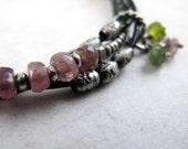 Intertwined Silver and Leather Bracelet with Tourmaline