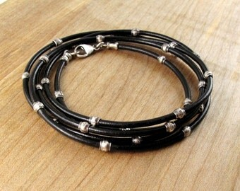 Multi Wrap Silver and Leather Bracelet