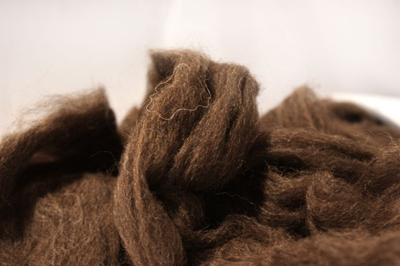 CLEARANCE KANSAS COCOA 4oz natural dark alpaca merino local Kansas Art Club combed top