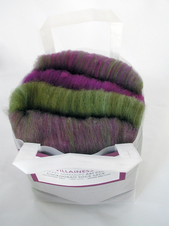 VILLAINESS CUCKOOBATT SOCK SACK set of 4 Art Club cuckoobatts wool batts for spinning or felting