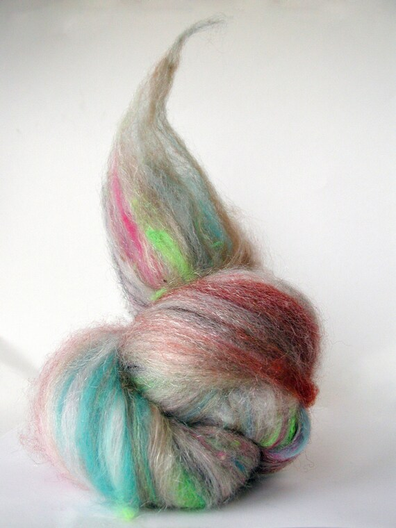 Mystery Wrapped in a Riddle Cuckoobatt Art Club Wool Batt with Surprise to Spin or Felt