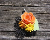 Quilled Rose and Lace Mesh Pendant