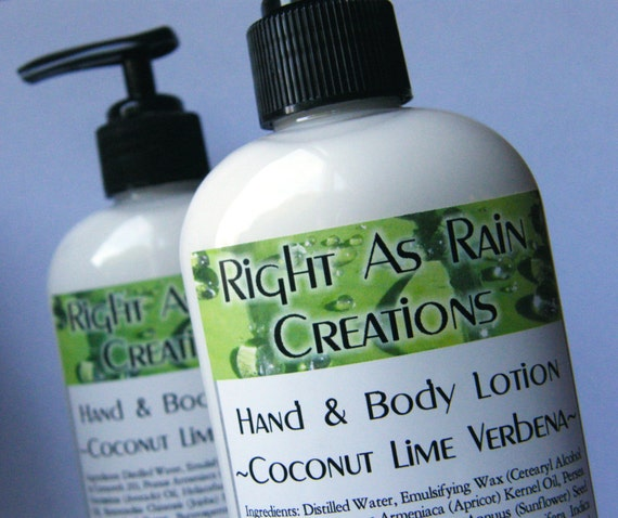 Vegan Body Lotion, COCONUT LIME VERBENA Scent - 8 oz Bottle
