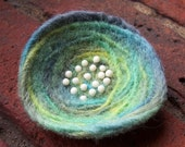 Pin - Felted Wool, Aqua, Lime and Dusty Purple