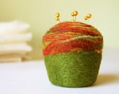 Pincushion - Felted Wool, rust and moss