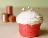 Cupcake Pincushion - Felted Wool, Melon Creme