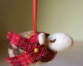 Sleepy Sheep Ornament - Brown, Charcoal, or Ivory Felted Wool You Choose