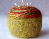 Pincushion - Felted Wool, rust and leaf