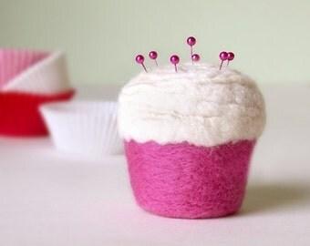 Pincushion - Felted Wool Cupcake, Strawberry and Vanilla