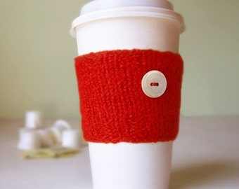 Coffee Cuff - Red - Knitted & lightly felted cup cozy
