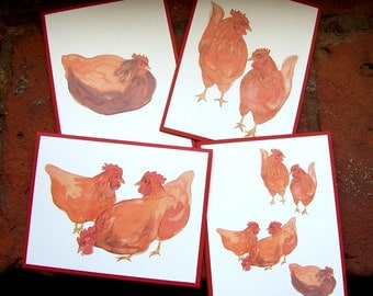 Cards - Chickens, Set of 4