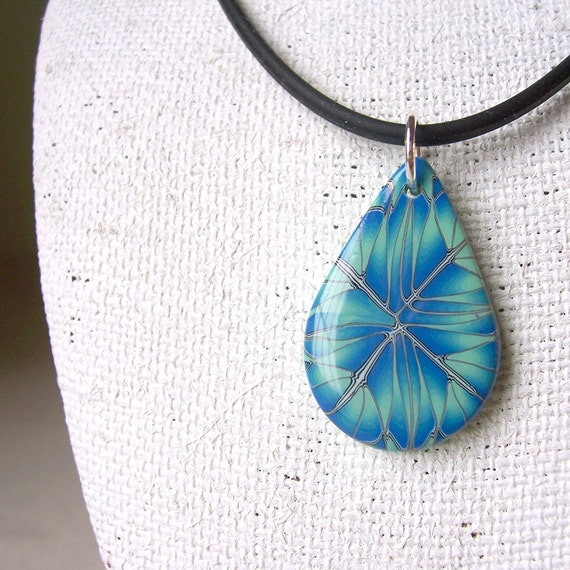 Necklace - Pendant on cord, Cobalt and Mint