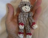 Tiny Sock Monkey - brown with red bands