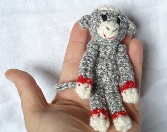 Tiny Sock Monkey - grey with red bands