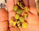 10 Yellow Glass Beads