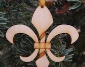 Twisted Fleur de Lis Christmas Ornament, wooden - New Orleans Saints-