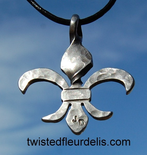 Twisted Fleur de Lis Necklace, Stainless Steel - Hurricane Katrina- New Orleans - hand hammered jewelry, mens or ladies.