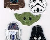 Star Wars Felties Hair Clip Bow Set of Five..  or magnets, Yoda Darth Vadar R2D2 Chewbacca