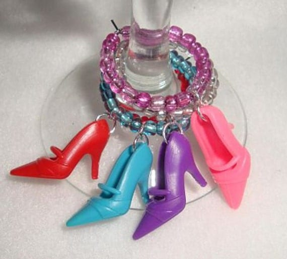 Barbie Shoe Wine Charms Set of Four Girlie Pump High Heals