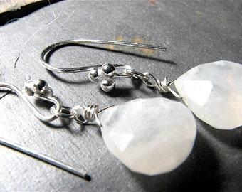 White Moonstone Teardrop Earrings