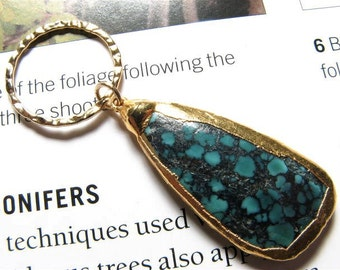 24k Gold dipped Turquoise Pendant