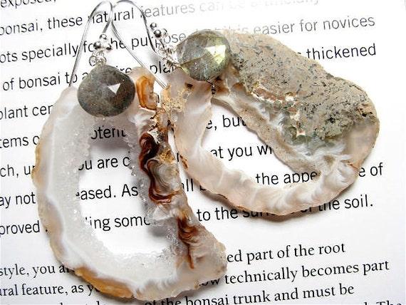 Naturalist, HUGE, Bejeweled Geode Slice Earrings