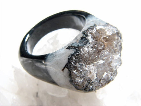 Smolder, Couture, Black Agate and Chocolate Diamonds Druzy Cocktail Ring, Size 7.75