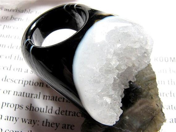 Size 7, Antoinette, Large-Black Agate & White Quartz Crystal Druzy Cocktail Ring