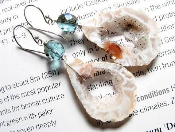 Teal Sapphire, Bejeweled Geode Slice Earrings