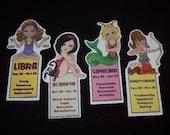 Astro Girl Zodiac Bookmarks - Set of Four - Choose Capricorn, Aquarius, Pisces, Libra, Leo, Aries, Sagittarius, Scorpio, Cancer, Virgo, Taurus, Gemini