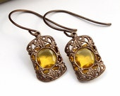 Amber Stained Glass Windows - Czech Revival Vintage Glass Earrings