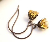 Fluted Flowers in Amber - Artisan Hand-Rendered Earrings