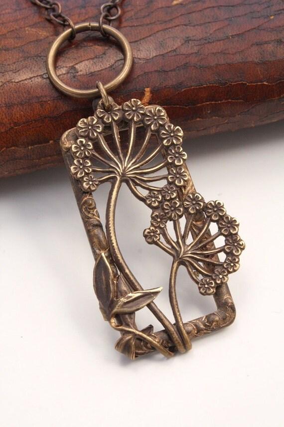 "RETRO Vintage Tooled Artisan Brass ""Dandelion Window"" Necklace"