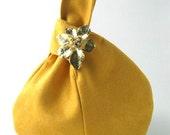 yellow purse, vegan wristlet bag, clutch, handbag, evening bag, cocktail bag, made from ultra suede