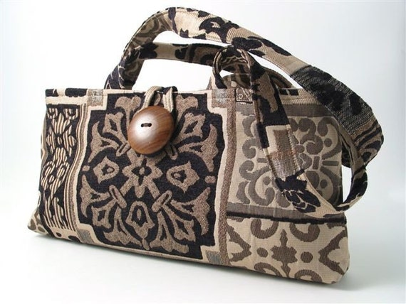 black bronze and beige clutch made from italian tapestry. Black Bedroom Furniture Sets. Home Design Ideas